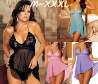 4 Color XXL XXXL Plus Size Women Lace Sexy Cute Satin Hot Sexy Lingerie Set Negligee nightgown dressing gown sexi woman lingerie
