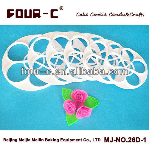 Versandkostenfrei einen Anzug von Rose kuchen cutter, Rosenblatt Fondant messersatz, heißer verkauf fondant-tools