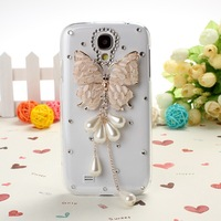 Wkae Fashion New DIY Crystal butterfly tassels Hard case Cover for Samsung Galaxy S4 i9500