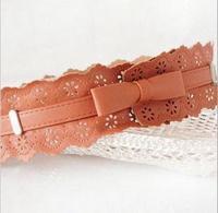 2013 hot sell hollow out flower bowknot relaxation retro imitation leather wide waist belt for women,women brand designer   belt