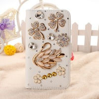 Fashion New DIY Crystal Swan and 4 leave flower PU leather Hard case Cover for Samsung Galaxy S4 i9500