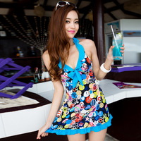 Free shipping Swimwear female dress one-piece swimwear big small push up swimwear