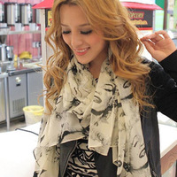 Free shipping 2014 autumn and winter scarf ultralarge female monroe cape print velvet chiffon silk scarf