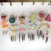 Conch shell small wind chimes handmade basket woah , shell  aeolian bells  pendant