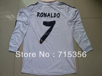 Hot sell real madrid 13/14 home white fans version best long sleeve thai quality soccer jersey, 7# ronaldo football jersey