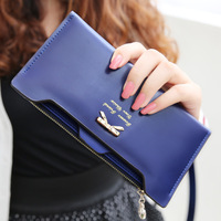 Golden Bowknot PU Leather plug-in Zipper Long Design Women Wallets Brand Designer Purse Card Holder Clip Handbags Clutch bags