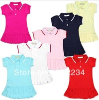 Free Shipping  Wholesale  2014 summe100% cotton baby dresses children girls Brand dresses baby Pleated tennis dress