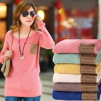Autumn and Winter Korean O-neck  Loose Long Sleeve Knit  Ladies  Pocket  Render coat sweater Dresses new Fashion 2014 Women