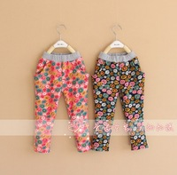 New Arrival Baby Wear 2~7 years Pastoral style Girls Flowers Trousers Children Fleece Pants Wholesale Kids Warm Trouser