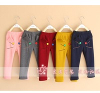 New Arrival Baby Wear 2~7 years Girls Cartoon Trousers Multicolor Children Cats Fleece Pants Kids Warm Trousers Wholesale