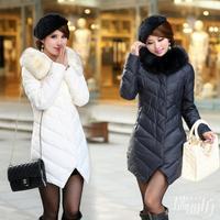 Atificail fur collar Girls Long Down genuine clearance was thin Slim Women Down  female winter- free shipping