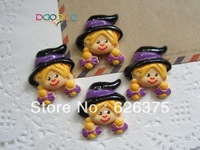 Wholesale Halloween Girl, Resin Flatback Flat Back Cabochons for Hair Bow Center, DIY, Free Shipping (25*35mm)