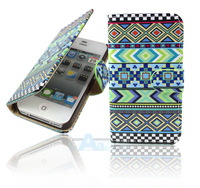 New Luxury Tribal Flip Wallet Leather Case Cover For iPhone 4 4S with Credit Card Holder +FILM A120