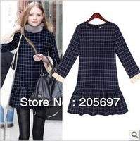 2013 autumn dress fashionable temperament dress skirt round collar grid