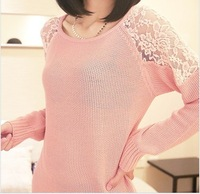 2014 New  Autumn and Winter Women Korean Long Sleeve dress Sexy Lace Hollow out Low Knitted fashionable sweater Free shipping