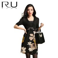 Faux two piece set lace V-neck Australian patchwork wool short-sleeve high waist plus size slim one-piece dress