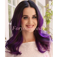 Free Shipping Fashion Celebrity #1b/purple 5A Brazilian Virgin Remy Hair Lace Front Wigs Body Wave Parting 100% Human Hair