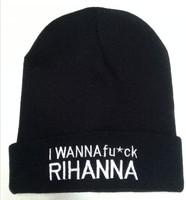 2014 new arrivel letter i wanna fuck rihanna beanie unisex adult active hat football skullies cap wool winter warm knitted
