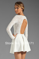 Autumn winter new fashion women backless long-sleeve sexy white lace bandage club wear ball gown mini dresses evening party