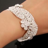 FB018  Fashion Jewelry Sterling Silver Rhinestone Crystal Bracelets & Bangles For Women 2015 Wedding Accessories