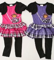1set nickelodeon brand DORA girl suit fashion short sleeve dress+ leggings kids 2pcs set suit for baby clothes tutu Lace dress