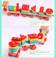 Colorful baby wooden toy pull train building blocks toys Children intelligence toy Early childhood education TOYS & GIFTS!