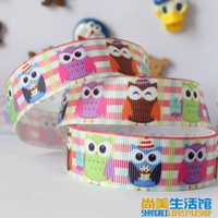 22mm cute cartoon owl pattern printing belt rib knitting belt gift packaging ribbon 20 yards free shipping