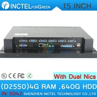 "New Arrival 15"" all in one LED touchscreen computers 4-wire resistive with 2*RJ45 6*COM HDMI 2G RAM 320G HDD Intel D2550 1.86G"
