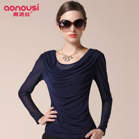 Autumn o-neck top long-sleeve gauze basic shirt slim lace shirt chiffon shirt t318