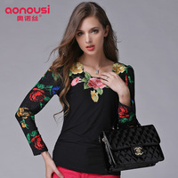 New arrival 2013 autumn and winter fashion print pleated gauze embroidered o-neck long-sleeve basic shirt female t427