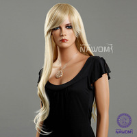 "Free shipping 100%KANEKALON Synthetic light blonde color hair 30.7"" long wigs for women"
