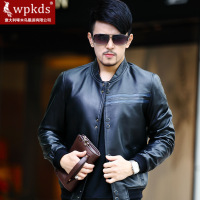 Wpkds 2013 men stand collar leather coat sheepskin genuine leather fashion coat for men jackets hot sale