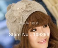 Fashion Pearl Flower Rabbit Hair Knitted Cap ! Women Set of Head Hats !