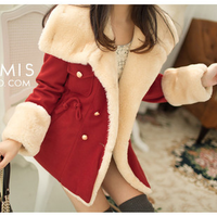 2013 autumn and winter women slim double breasted preppy style thickening wool woolen overcoat outerwear