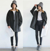 Vintage sty nda preppy style color block turn-down collar cotton-padded plus size loose bf wool coat outerwear