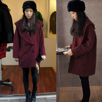 2013 Wine red loose woolen outerwear large lapel preppy style woolen overcoat thickening