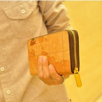 2013 wallet fashion map masklike medium-long wallet card holder male wallet