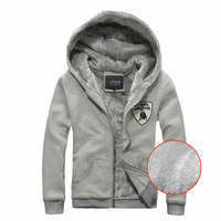 With a hood plus velvet thickening cardigan sweatshirt outerwear teenage boys slim