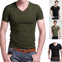 T-shirt men sport male short-sleeve new arrival cotton lycra elastic V-neck tight-fitting olive Military Emblem Tee T-Shirt