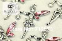 M48 Cute Pink Crystal Wing Fairy Angel Charms Pendants Wholesale (10 pcs) Free Shipping