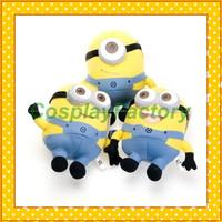 "Free Shipping 7"" Despicable Me Minion Plush Doll toys 3D Eyes,3pcs/lot"