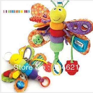 frete grátis novo 1 pcs musical bebê bonito borboleta voar lagarta plushtoy pulso chocalhos criança infantil brinquedos dos miúdos(China (Mainland))