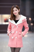 2013 new arriving Woolen hooded over coat outerwear for winter fashion and Thin type