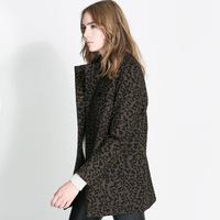 Women Leopard printed woolen double breasted Wool Blends Coat B461