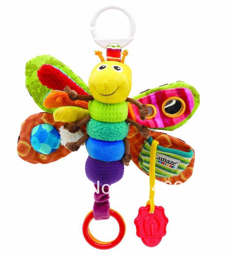 Atacado ! Nova 3Pcs da criança infantil Kids Brinquedos musical bonito do bebê Inchworm PlushToy Fly Butterfly pulso chocalhos Frete Grátis!(China (Mainland))