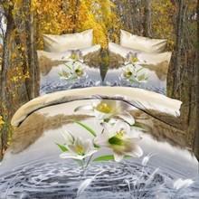 Cama flor 3D 3D edredons conjuntos de cama 3D rainha 3D Duvet Cover atacado baratos grátis frete(China (Mainland))