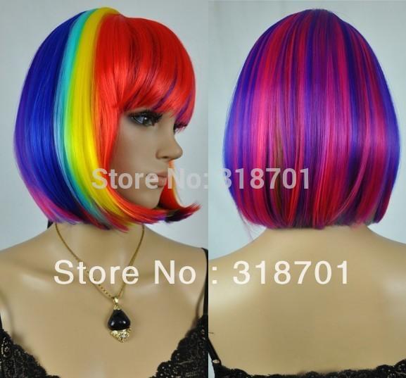 Celebridade do arco-íris encantador perucas perucas bob quentes com franja frete grátis(China (Mainland))