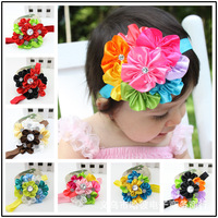 Newest Baby Girls Flower Hairbow Wtih headband For Kids Hair Accessories JD#5144