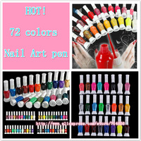 wholesale latest edition nail polish 72 Colors 2-Way False Nail Art Brush Pen Glitter Varnish Polish Set 72pcs/set free shipping