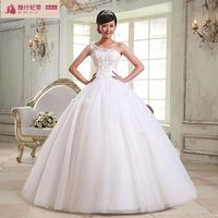2013 new arrival sweet princess wedding qi one shoulder spaghetti strap flower white elegant wedding dress formal dress